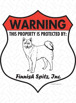 Finnish Spitz Badge Shape Sign or Sticker