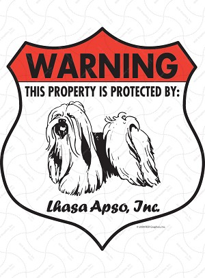 Lhasa Apso Badge Shape Sign or Sticker