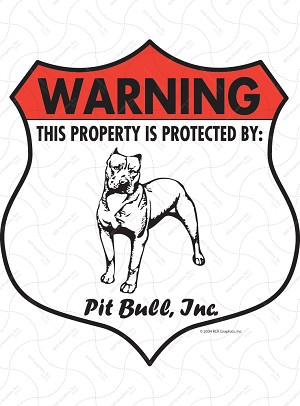 American Pit Bull Terrier Badge Shape Sign or Sticker