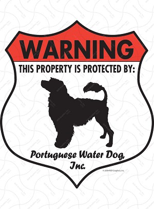 Portuguese Water Dog Badge Shape Sign or Sticker