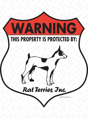 Rat Terrier Badge Shape Sign or Sticker