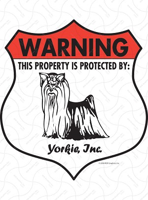 Yorkshire Terrier Badge Shape Sign or Sticker