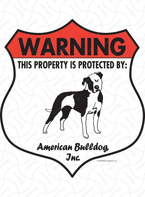 American Bulldog Badge Shape Signs