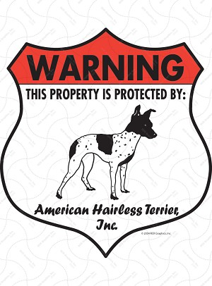 American Hairless Terrier Badge Shape Signs