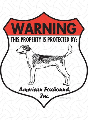American Foxhound Badge Shape Sign or Sticker