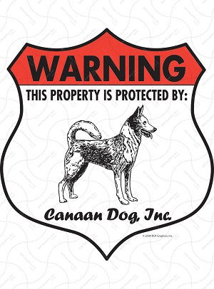 Canaan Dog! Property Patrolled Badge Sign and Sticker