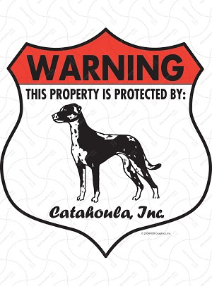 Catahoula Badge Shape Sign or Sticker