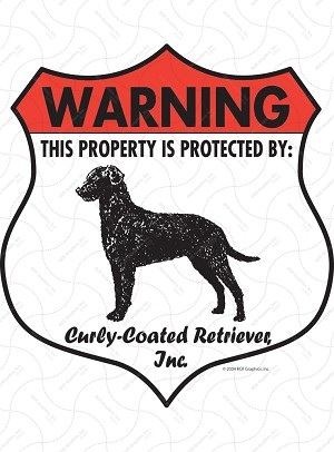 Curly-Coated Retriever Badge Shape Sign or Sticker