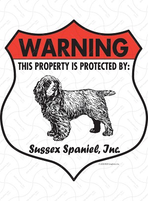 Sussex Spaniel Badge Shape Sign or Sticker