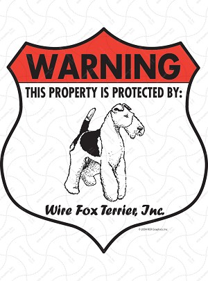 Wire Fox Terrier Badge Shape Sign or Sticker