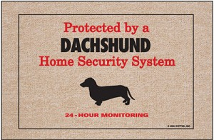 Protected by a Dachshund Home Security System Doormat