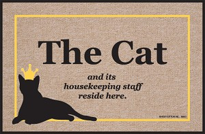 The Cat and Its Housekeeping Staff Doormat